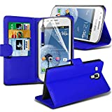 ( Blue ) Samsung Galaxy Trend Plus S7580 Case Stylish Designed BookStyle PU Leather Wallet Leather Flip With 3 Credit / Debit Card Slot Skin Cover With LCD Screen Protector Guard, Polishing Cloth & Mini Retractable Stylus Pen by Fone-Case