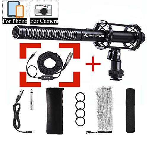 Shotgun Microphone Bundle for Smartphone Camera Vlog, Sevenoak PVM1000 Broadcast-Quality Mic & BCA6 Phone Adapter & Headphone Monitor for iPhone X 8 7 Canon Nikon DSLR Sony Camcorders Interview Live