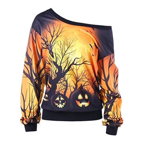 (Fashion Women Girls Halloween Coustume Print Pumpkin Tree One Sleeves Off Shoulder Blouse Top Shirt (Black,)
