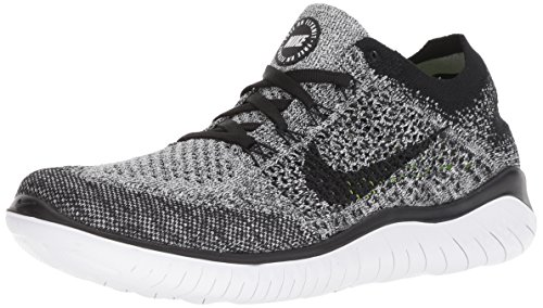 Nike Womens Free RN Flyknit Running Shoes White/Black 8
