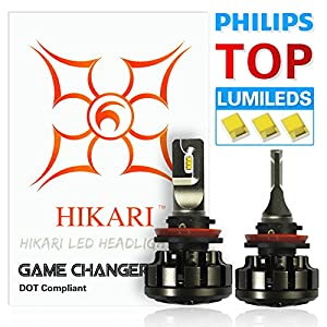 HIKARI LED Headlight Bulbs Conversion Kit -H11 (H8,H9),Philips Lumileds 12000lm 6K Cool White,2 Yr Warranty