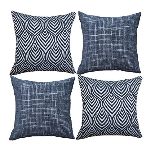 Original Pro Geometric Pillow Covers Chenille Plush Decorative Cushion Covers Textured Waves Striped Pillowcases for Sofa Couch Bed Set of 4 18 x 18 inches Navy Blue