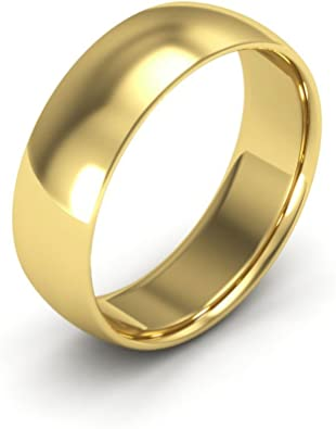 FB Jewels 14K Yellow Gold Mens Solid 6mm Plain Traditional Classic Comfort Fit Wedding Ring Band