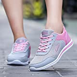 Women Running Shoes- Quick Drying,Casual Outdoor Slip-on Sneakers Athletic Walking Flats Shoes 5.5-8 (Pink, US:6.5)