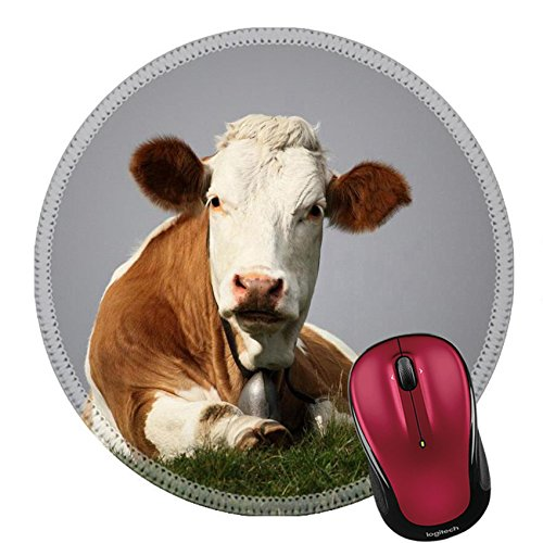 Liili Round Mouse Pad Natural Rubber Mousepad brown sitting cow in the european alps IMAGE ID 14951146
