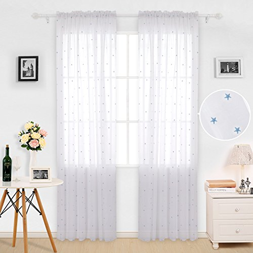 Deconovo White Sheer Curtains 96 inches Long Voile Drape Curtains Rod Pocket Star Embroideried Sheers for Nursery 52x96 2 Panels Blue Star