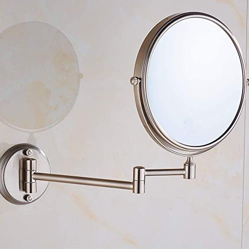 Cavoli 8 Inch Wall Mounted Mirror with 7X Magnification,Two-Sided Swivel, 12 Inch Extension, Brush Nickel Finish 8in,7X