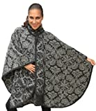Superfine Reversible Baroque Alpaca Wool Poncho Cloak with matching Scarf (Charcoal/Gray)