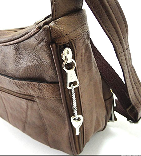 Strap Gun Shoulder Carry Purse Organizer Leather w Concealed brown amp; qnA8ExwgT