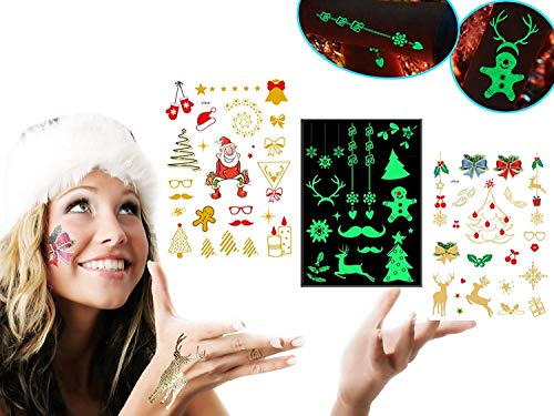 Christmas Temporary Tattoos for Kids,Holiday Flash Body Tattoo Stickers Assorted for Women,Sparkly X-Mas Gift Body Art Water Transfer Stickers 3 Packs(1 cute +1 luminous +1 gold) ()