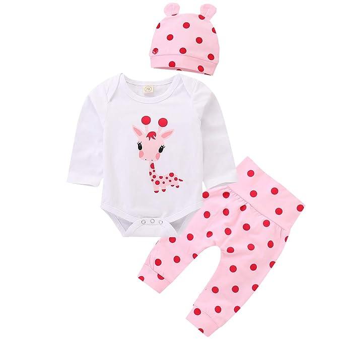 9896a4c23c51 puseky Newborn Baby Girl Long Sleeve Cartoon Giraffe Romper+Polka ...