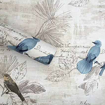 HOYOYO 17x78 Inches Self-Adhesive Paper, PVC Moisture Proof Drawer Paper Shelf Liner Mildew Proof Antifouling Wall Paper, Blue Bird Decorative (Bird Wallpaper)
