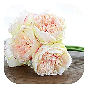 Memoirs- 5 Heads Artificial Flowers Peony Bouquet Silk Peony Flowers Bridal Bouquet Fall Vivid Fake Flowers for Wedding Home Decoration,Champagne 91