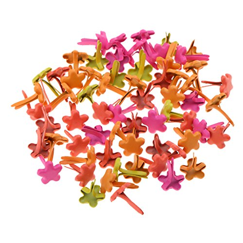 Fityle 100 Pieces 7.5mm Flower Brads Paper Craft Fasteners for DIY Cardmaking Scrapbooking
