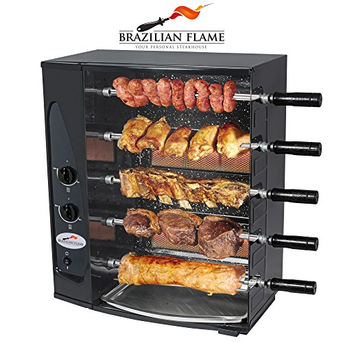 brazilian flame 5 skewer rotisserie gas barbecue grill by arke authentic brazilian barbecue. Black Bedroom Furniture Sets. Home Design Ideas