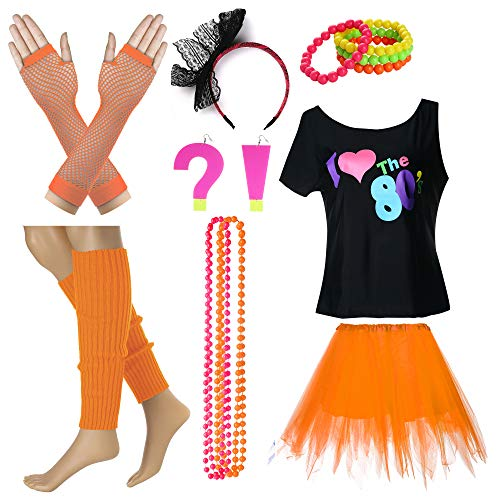 I Love The 80's T-Shirt Fancy Outfit Dress for 1980s Theme Party Supplies (XL/XXL, Orange)