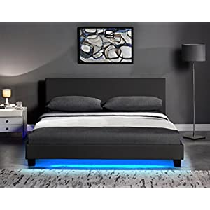 Cherry Tree Furniture URSA Black PU Leather LED Bed (Black, 4FT6 Double)