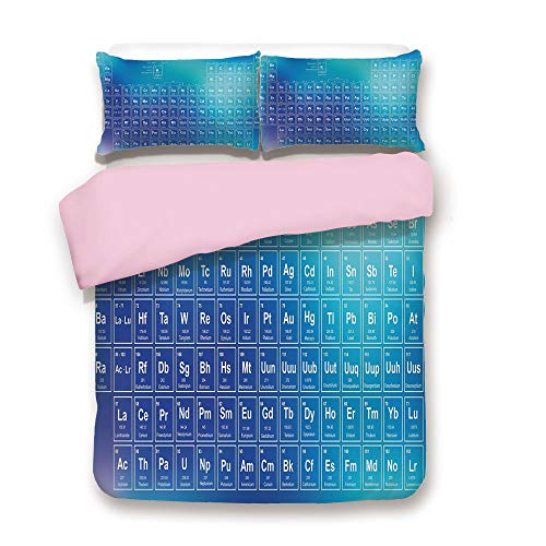 Pink Duvet Cover Set/Queen Size/Chemistry Element Table Modern Image with Blue Attentive Backdrop Art/Decorative 3 Piece Bedding Set with 2 Pillow Sham/Best Gift For Girls Women/Aqua Sky and Baby ()