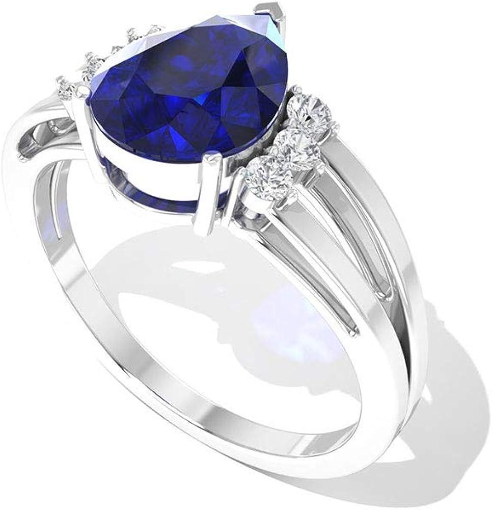 Anillo de compromiso con diamantes difusos de 1,85 ct con certificado IGI, forma de pera azul, anillo de compromiso con piedras preciosas, claridad de color IJ-SI