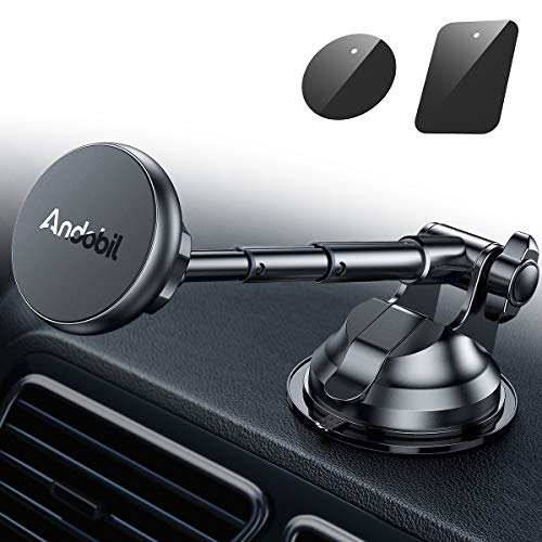 Andobil Magnetic Phone Car Mount, Ultimate Hands-Free Phone Holder for Dashboard Windshield, Upgrade Strong Metal Telescopic Long Arm and Super Suction Cup for All Smartphone and Mini iPad