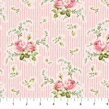 Hopelessly Romantic Pink with Roses and Light Pink Stripes Northcott Cotton Fabric 21813-21