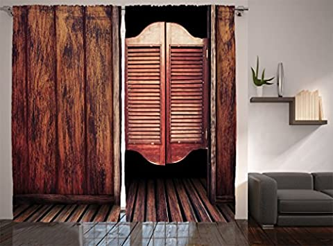 Ambesonne Western Decor Collection, Old Vintage Rustic Wild West Swinging Cowboy Bar Saloon Door Picture, Window Treatments, Living Room Bedroom Curtain 2 Panels Set, 108 X 90 Inches, Brown Peru