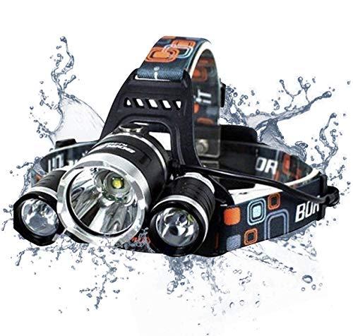 6000 Lumen Headlamp Flashlight - Triple Cree LED - 4-Mode - Adults Rechargeable Waterproof- USB