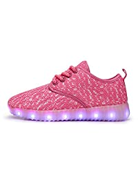 Led Breathable Running Shoes Childrens Knit Fabric Mesh Athletic Sports Sneakers Lace Up 11 Colors Light up Luminous Shoes(Toddlers/Littler Kids/Girls/Boys)