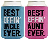 Aunt Uncle Gifts Best Effin' Aunt and Uncle Ever Funny Aunt Uncle Announcement Aunt Uncle Gift Set 2 Pack Can Coolie Drink Coolers Coolies Blue & Pink