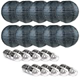 WYZworks Round Paper Lanterns (Black, 10'') with Cool White LED light bulbs 10 Pack - with 8'', 10'', 12'', 14'', 16'' option