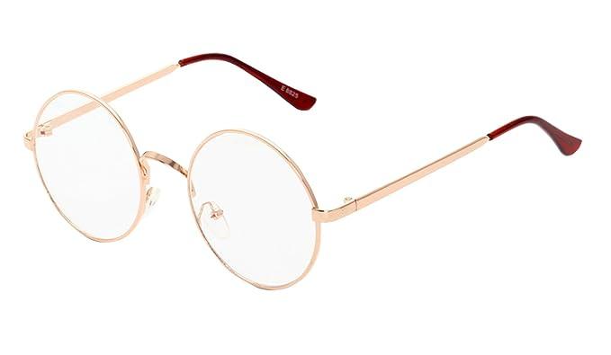 acf39fc666 DealGoods - anteojos de lentes circulares con marco de metal redondo,  Negro, M