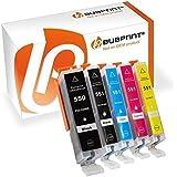 Bubprint 5 Druckerpatronen kompatibel für Canon PGI 550 XL 550XL BK CLI 551 551XL für Pixma IP7250 IP8750 IX6850 MG6450 MG7550 MX920 MX925 Multipack