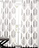 Nicole Miller Ivory Grey Brocade Damask Medallions Pair of Curtains 2pc window panels 52 by 96-inch Off White Gray