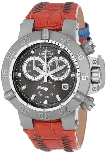 Invicta Women's 11626 Subaqua Chronograph Silver Grey Dial Red Leather Watch