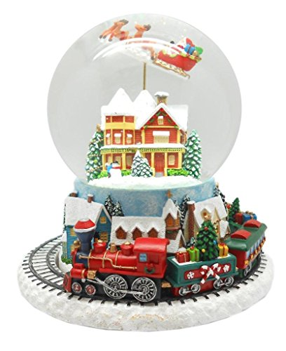 Lightahead Musical Flying Santa Figurine 120MM Poly Resin Water Snow Globe with Inside House and Train at Base revolving - Santa Wind Up Musical Figurine