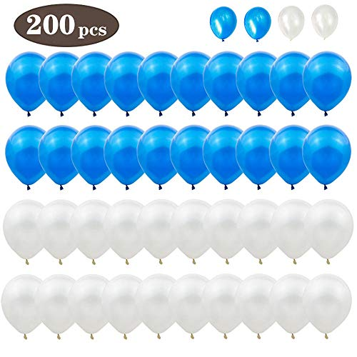 Minelife 200pcs Latex Balloons, 10 inch Blue and White Party Balloons Wedding/Birthday Party Decorations and Events Christmas Party (Blue and White) -