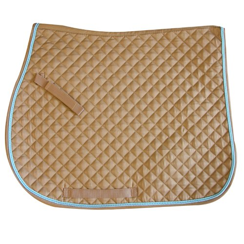 Exselle All Purpose Quilted Saddle Pad, Tan/Light Blue (Quilted Pads Purpose Saddle)