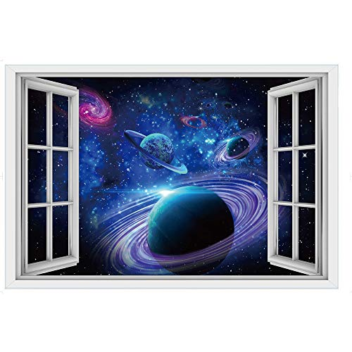 Creative 3D Space Wall Decals - Removable PVC Out of The Window Vast Cosmic Starry Stickers Murals Wallpaper Art Decor for Home Walls Ceiling Boys Room Kids Bedroom Nursery -