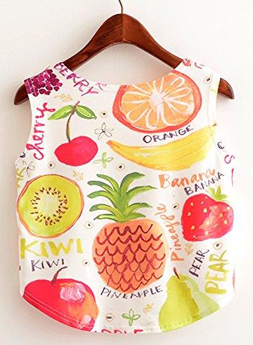 Sleeveless Stylish Tops Yellow amp;orange Neck Scoop Printed Fruits Crop Women's Achicgirl p6aq5YFTwf