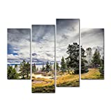 4 Pieces Modern Canvas Painting Wall Art The Picture For Home Decoration Steam Thermal Pools Geyser Activity Morning Yellowstone Lake Landscape Volcano Print On Canvas Giclee Artwork For Wall Decor
