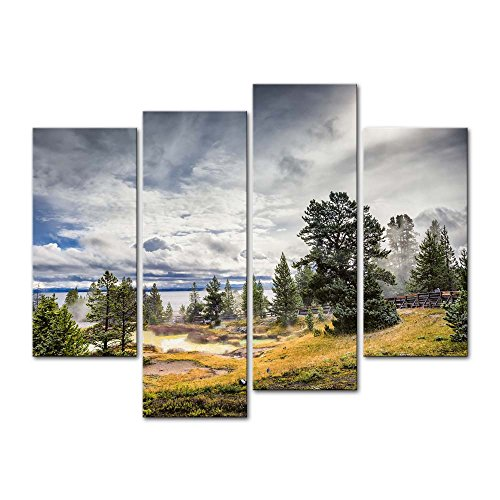 - Wall Art Decor Poster Painting On Canvas Print Pictures 4 Pieces Steam Thermal Pools Geyser Activity Morning Yellowstone Lake Landscape Volcano Framed Picture for Home Decoration Living Room Artwork
