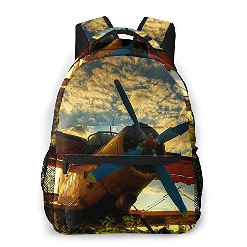 Travel Laptop Backpack Casual Backpack Cool Sunset Tiger Moth Plane, Anti Theft Durable Computer Bag, Water Resistant College School Bag for Women Men Fits 14 Inch Notebook