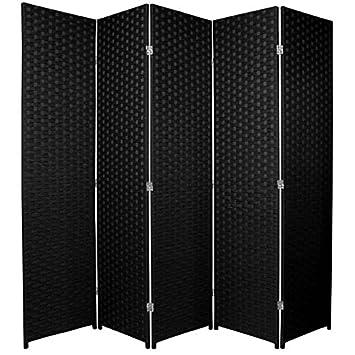 Paravento a 4 pannelli, pieghevole, per proteggere la propria privacy o come arredamento, Rattan e vimini, 3 pannello Long Tu