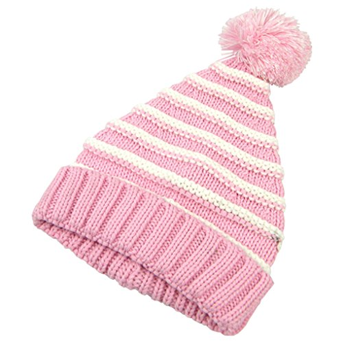 (Feelingwear Toddler Girls Winter Stripe Knit Fleece Lined Baggy Slouchy Beanie Hat Skull Cap Pink & White Stripes Size M)