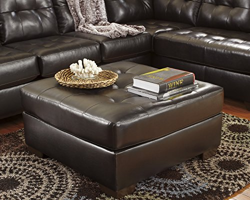 Chocolate Brown Leather Rich - Alliston DuraBlend Contemporary Chocolate Color Faux Leather Oversized Accent Ottoman