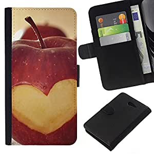 KLONGSHOP // Tirón de la caja Cartera de cuero con ranuras para tarjetas - Macro de la fruta del corazón de Apple Lowe - Sony Xperia M2 //