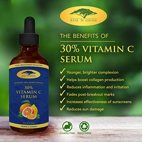 (4 oz) 30% Vitamin C Serum with Hyaluronic Acid - Stimulates Collagen for Anti-Aging Repairs Dark Circles Around Eyes and Sun Damage for Skin Face and Neck Fades Age Spots and Wrinkles