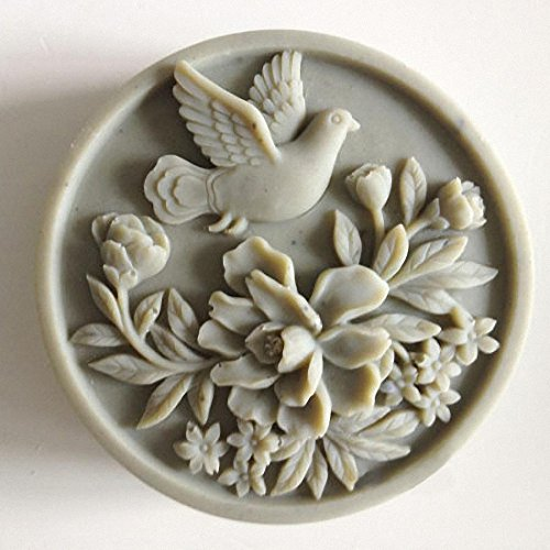Dove of Peace Soap Mold - MoldFun Pigeon Bird and Flowers Silicone Mold For Handmade Lotion Bars, Bath Bombs, Resin Casting