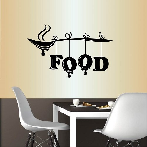 Wall Vinyl Decal Home Decor Art Sticker Food Word Sign Spoon Kitchen Restaurant Café Room Removable Stylish Mural Unique Design