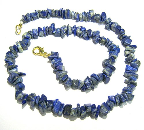 CRYSTALMIRACLE BEAUTIFUL 18 INCHES LAPIS LAZULI GEMSTONE NECKLACE CRYSTAL HEALING WOMEN GIFT HANDCRAFTED ACCESSORY PSYCHIC WELLNESS POSITIVE ENERGY PEACE MEDITATION POWERFUL LOVE THROAT CHAKRA by CRYSTALMIRACLE